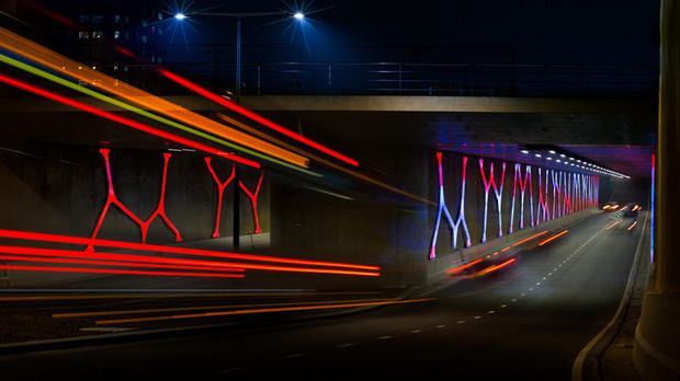 Lichtkunstwerk in Hondsrugtunnel.